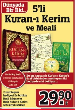 5'li Kuran-ı Kerim Meali Seti<br />(Dünya'da Bir Ilk, Rahle Boy Beşli Kuran-ı Kerim)<br />2 Kitap + 1 DVD Birlikte